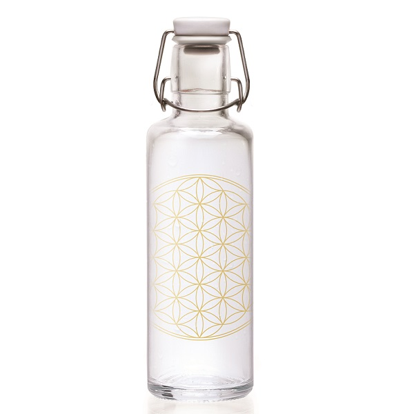 Cover Glasflasche mit Tragegriff Soulbottle 0,6 Flower of Life